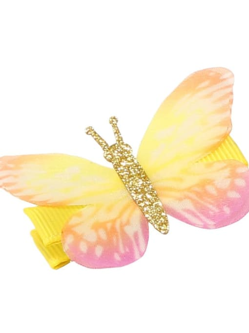 12 Alloy Fabric Cute Butterfly  Multi Color Hair Barrette