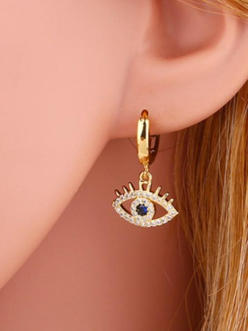 CC Brass Cubic Zirconia Evil Eye Dainty Huggie Earring 1