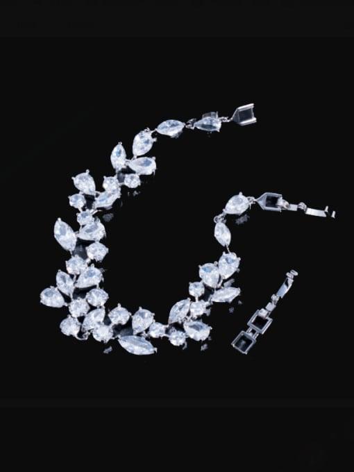 Platinum Brass Cubic Zirconia Water Drop Luxury Link Bracelet