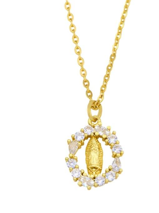 A Brass Cubic Zirconia Moon Minimalist Necklace