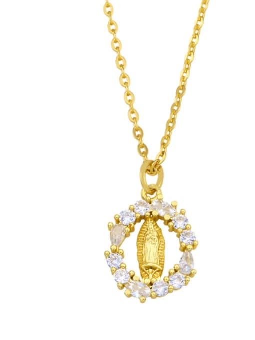 CC Brass Cubic Zirconia Moon Minimalist Necklace 1