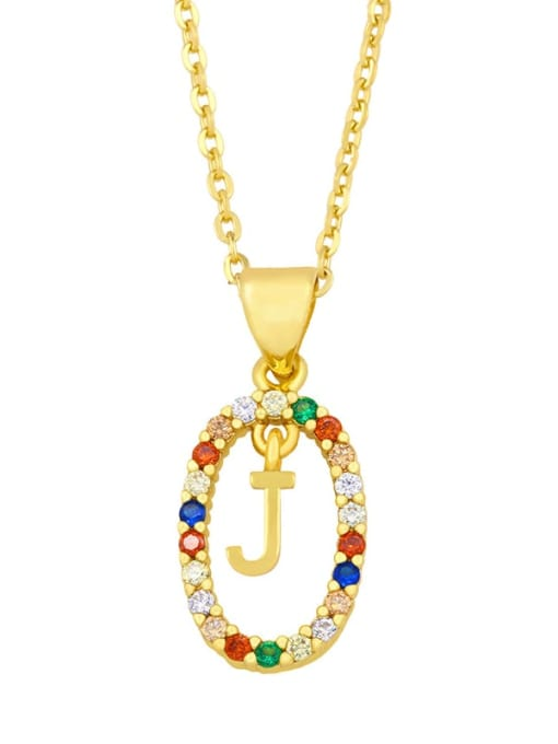 J Brass Cubic Zirconia Letter Vintage Oval Pendant Necklace