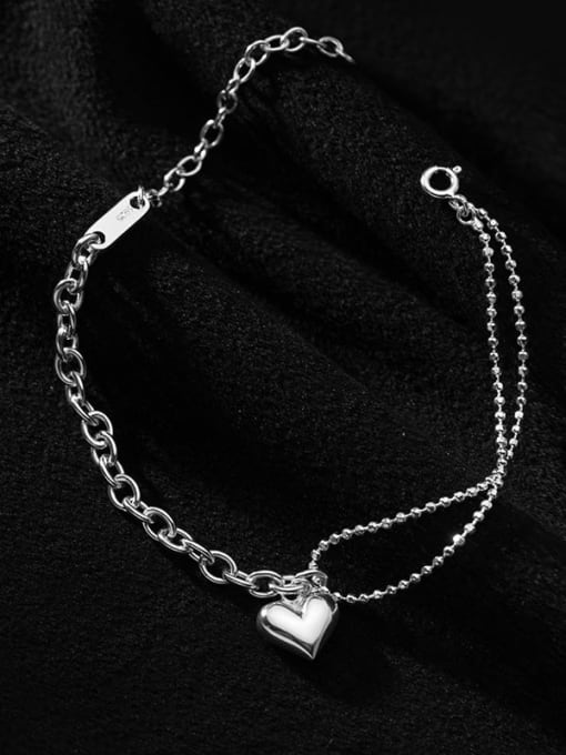 Rosh 925 Sterling Silver  Minimalist Double layer glossy love asymmetrical bracelet 3