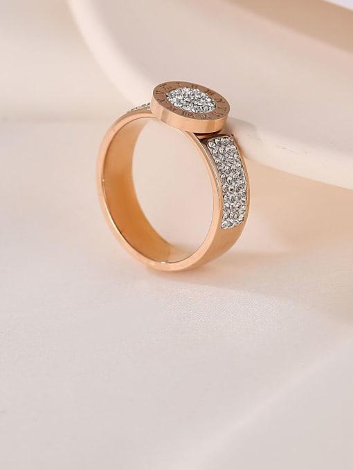 MIYA Titanium Steel Rhinestone Round Minimalist Band Ring 2