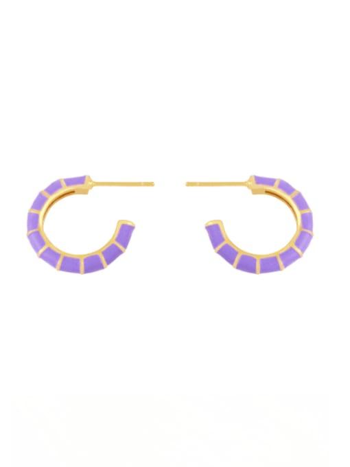 purple Brass Enamel Geometric Minimalist Stud Earring