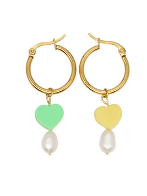ZZ E210016A Stainless steel Multi Color Polymer Clay Heart Bohemia Hook Earring