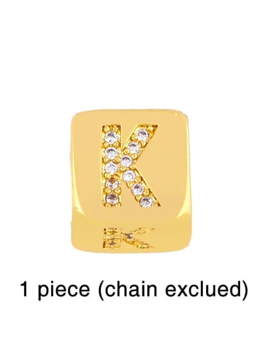 K Brass Cubic Zirconia square Letter Minimalist Adjustable Bracelet
