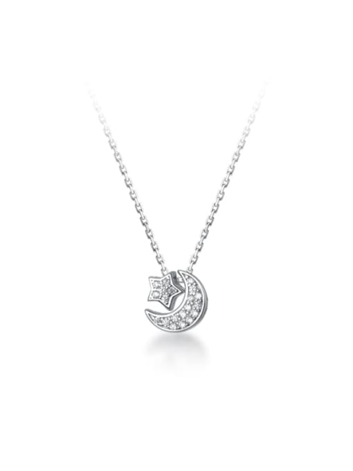 Rosh 925 Sterling Silver Cubic Zirconia Moon Minimalist Necklace 4