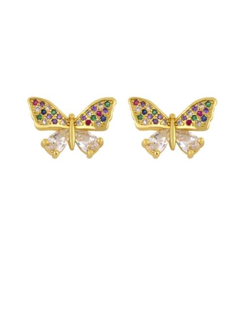 CC Brass Cubic Zirconia Butterfly Dainty Stud Earring 1