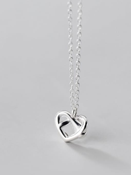 Rosh 925 Sterling Silver  Hollow Heart Minimalist Pendant Necklace 2