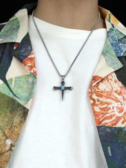 Open Sky Titanium Steel Turquoise Cross Hip Hop Necklace 3