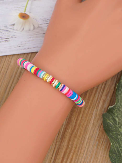 Roxi Stainless steel Polymer Clay Geometric Bohemia Stretch Bracelet 1