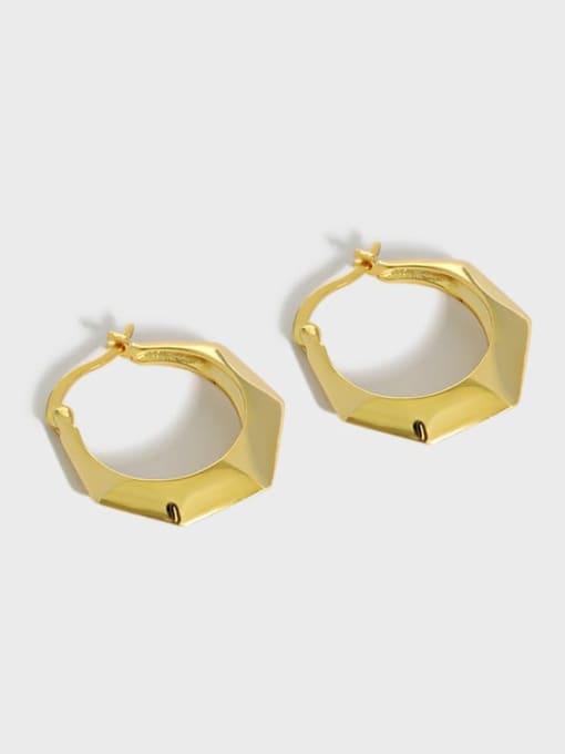 DAKA 925 Sterling Silver Geometric Minimalist Huggie Earring