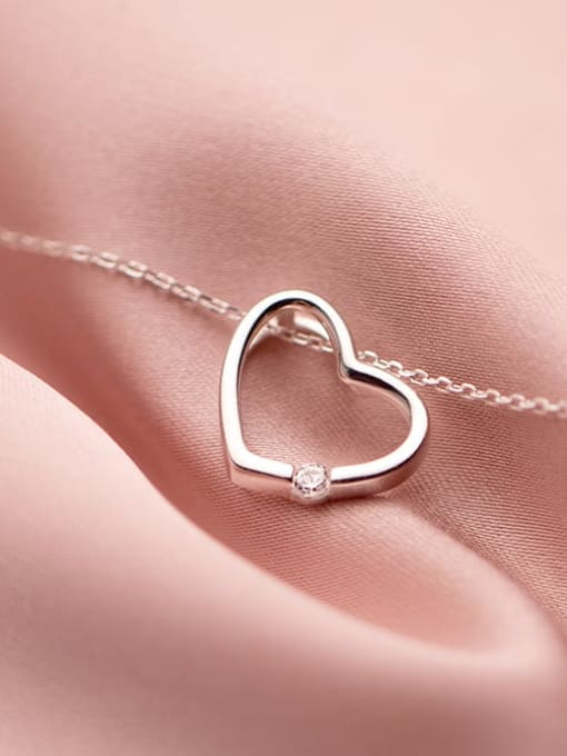Rosh 925 Sterling Silver Hollow Heart Minimalist pendant Necklace 3