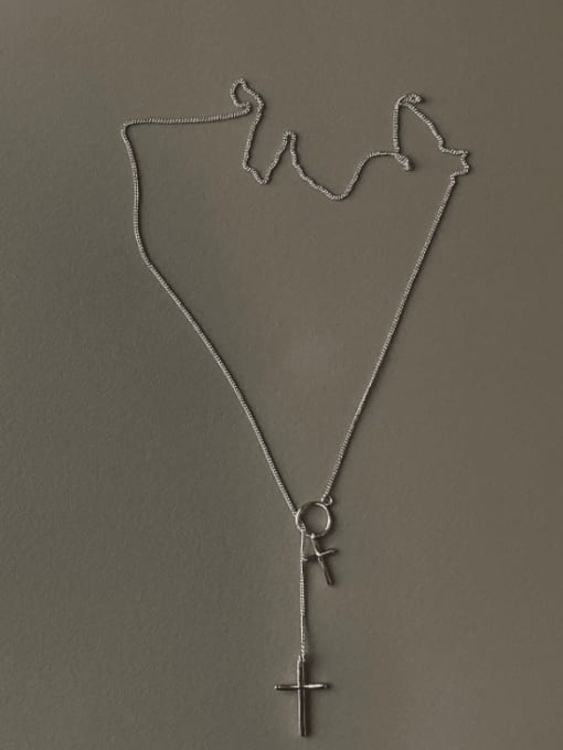 Boomer Cat 925 Sterling Silver Cross Minimalist Lariat Necklace