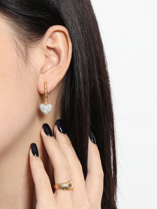 DAKA 925 Sterling Silver Cubic Zirconia Heart Vintage Huggie Earring 2