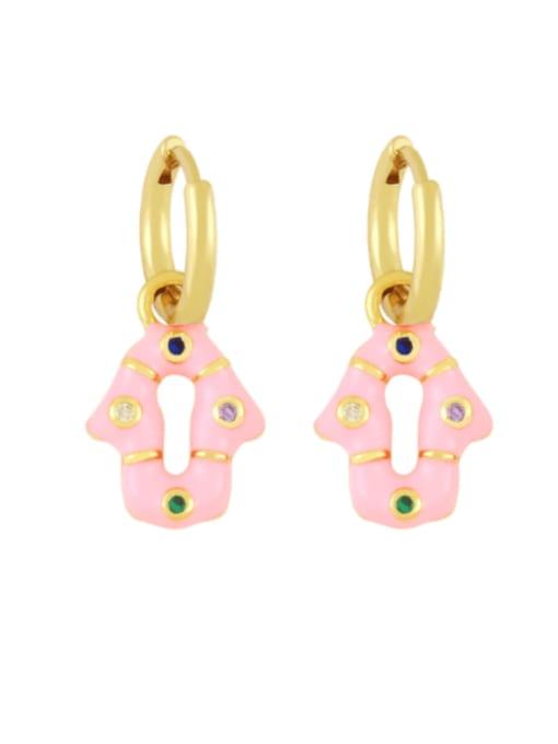 pink Brass Enamel Geometric Vintage Huggie Earring