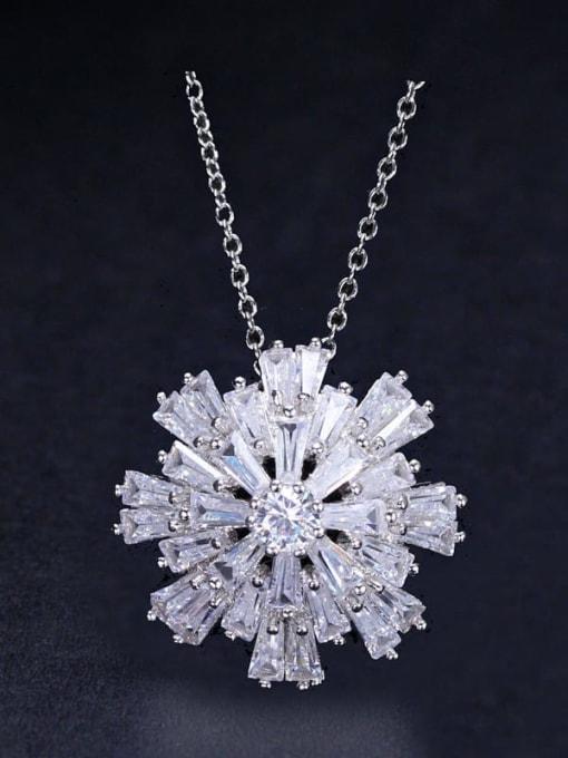platinum Brass Cubic Zirconia Flower Luxury Necklace