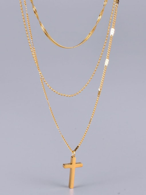 A TEEM Titanium Cross Minimalist Multi Strand Necklace 2