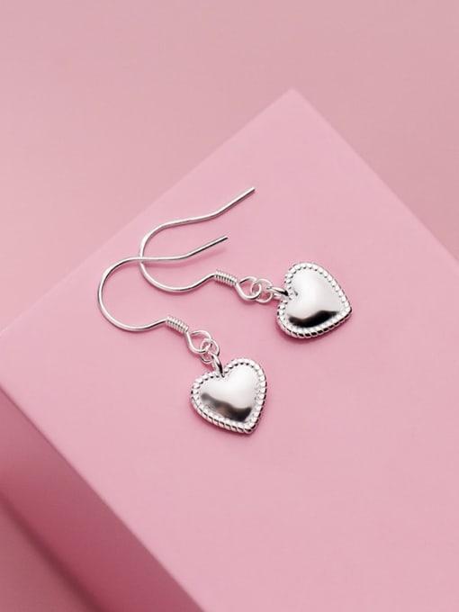 Rosh 925 Sterling Silver Heart Minimalist Hook Earring 1