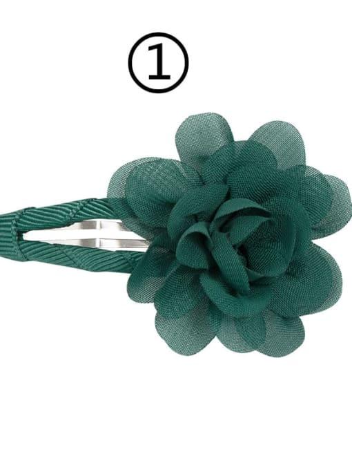 1 dark green Alloy Yarn Minimalist Flower  Multi Color Hair Barrette
