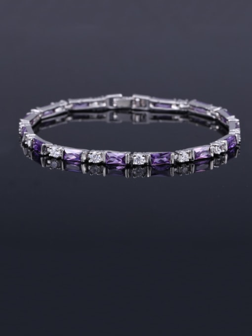 Purple orchid 17.5+ 2.2cm Brass Cubic Zirconia Geometric Classic Bracelet