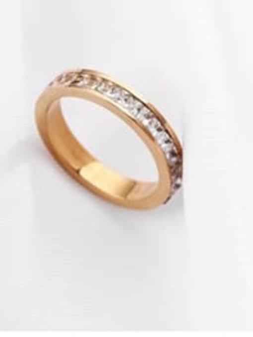 Rose gold (single layer) Titanium Steel Rhinestone Round Minimalist Stackable Ring