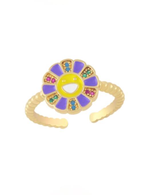 purple Brass Enamel Smiley Flower Minimalist Band Ring