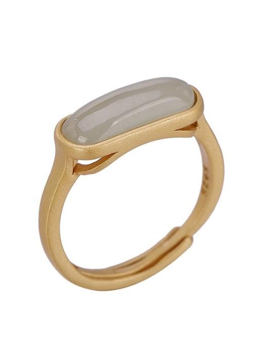 DEER 925 Sterling Silver Jade Geometric Minimalist Band Ring 0