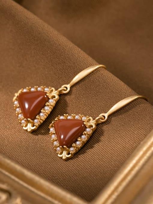 DEER 925 Sterling Silver Carnelian Geometric Vintage Hook Earring 2