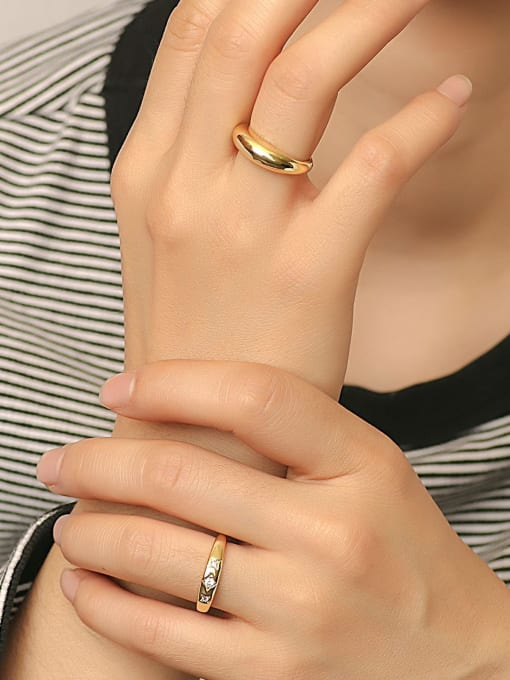 CHARME Brass Smooth Round Minimalist Band Ring 1
