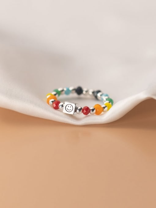 Rosh 925 Sterling Silver Bead Multi Color Smiley  Square Minimalist Band Ring 2