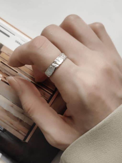 Boomer Cat 925 Sterling Silver Irregular Minimalist Band Ring 1