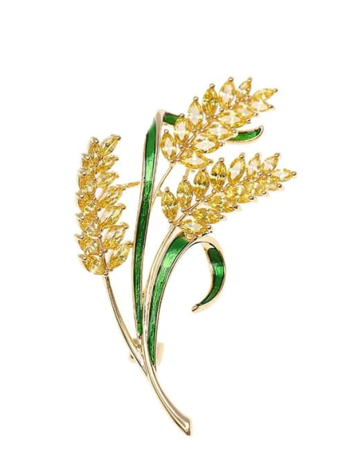golden Brass Cubic Zirconia Blue Leaf Statement Brooch