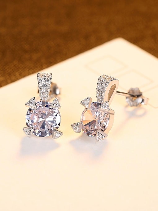 CCUI 925 Sterling Silver Cubic Zirconia Geometric Statement Stud Earring 2