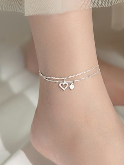 Rosh 925 Sterling Silver Cubic Zirconia Heart Minimalist  Anklet 3