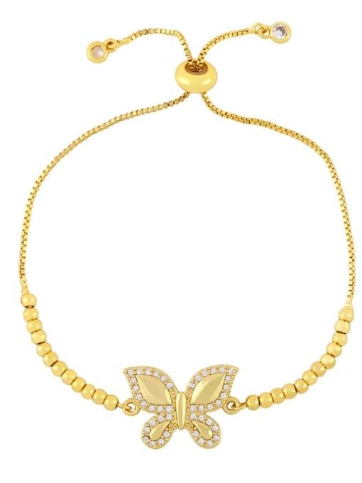 B Brass Cubic Zirconia Butterfly Vintage Adjustable Bracelet
