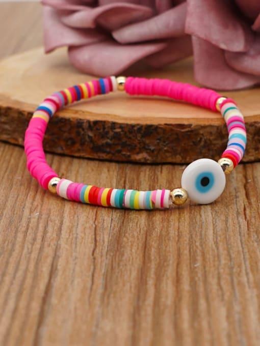 Roxi Stainless steel Multi Color Polymer Clay Evil Eye Bohemia Stretch Bracelet 2