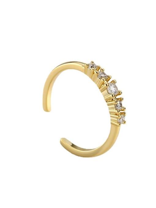 CHARME Brass Cubic Zirconia Geometric Minimalist Band Ring 4