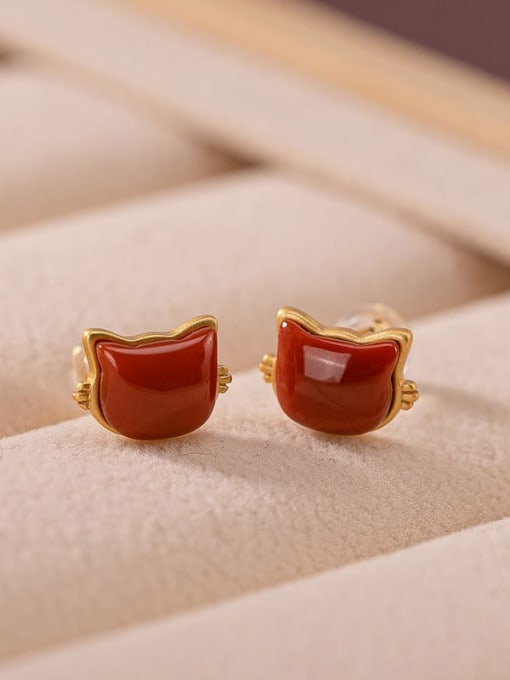 South Red (a pair) 925 Sterling Silver Carnelian Cat Cute Stud Earring