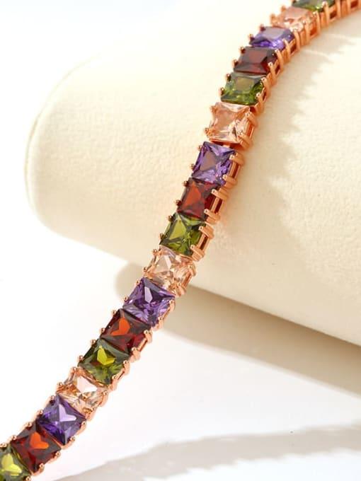 DUDU Brass Multi Color Geometric Cubic Zirconia  Dainty Bracelet 3