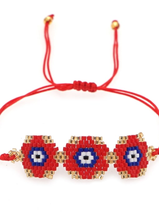 MI B210079B Multi Color Miyuki DB  Bead Geometric Bohemia Adjustable Bracelet