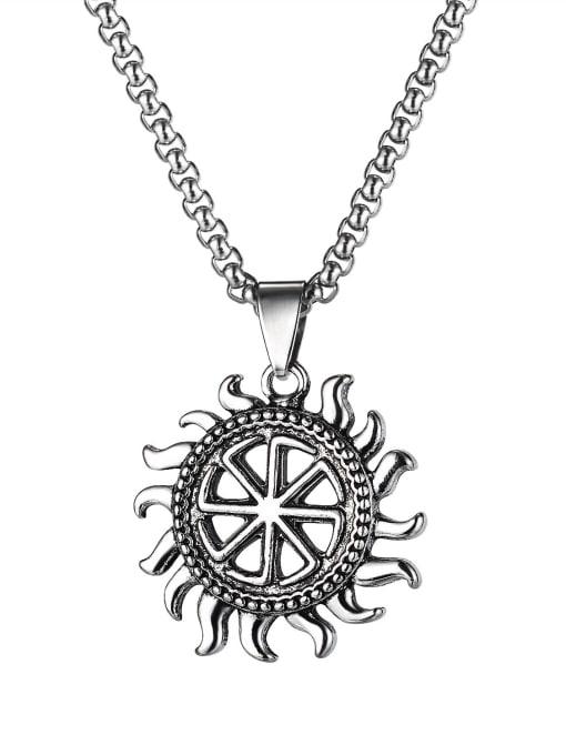 1901 Pendant with chain Alloy  Hip Hop Retro Men's Sun Pendant  Necklace
