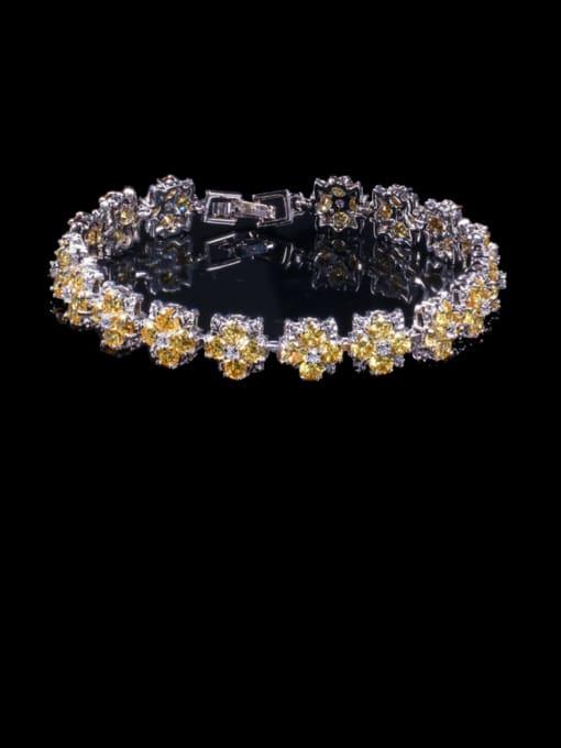yellow Brass Cubic Zirconia Flower Dainty Bracelet