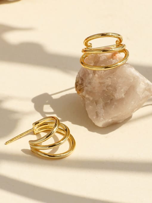 CHARME Brass Geometric Minimalist Stud Earring 1