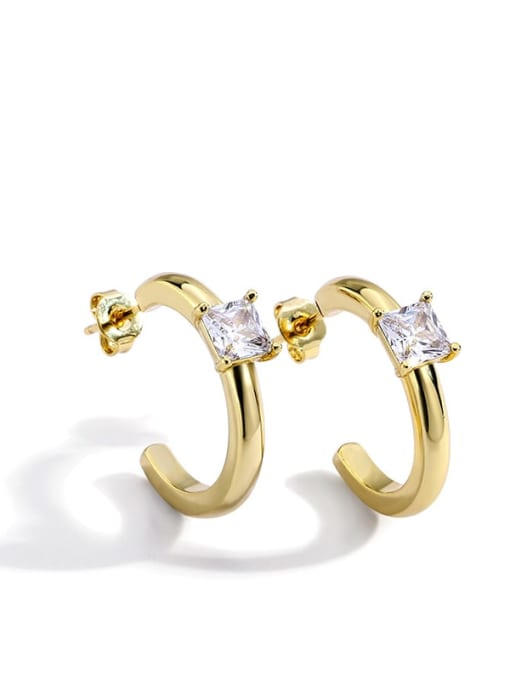 Gold Earrings Brass Cubic Zirconia Geometric Stud Earring