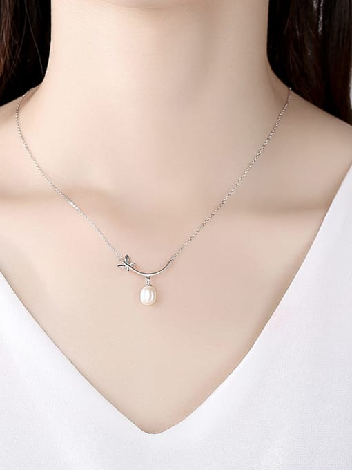 CCUI 925 Sterling Silver Freshwater Pearl Flower Minimalist Necklace 1