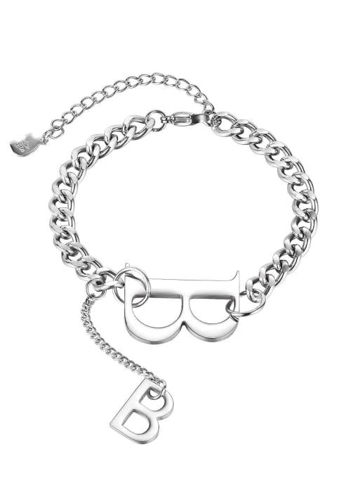 Open Sky Titanium Steel Letter Hip Hop Link Bracelet 0