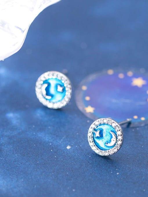 Rosh 925 Sterling Silver Cubic Zirconia Enamel Round Minimalist Stud Earring 4