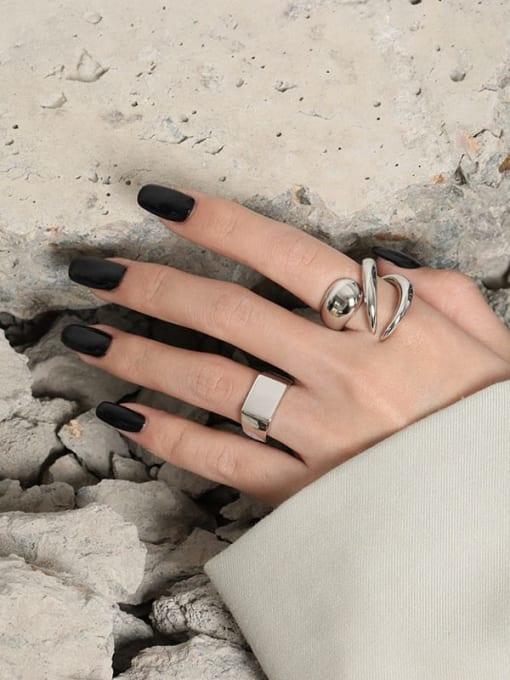 DAKA 925 Sterling Silver Geometric Minimalist Band Ring 2